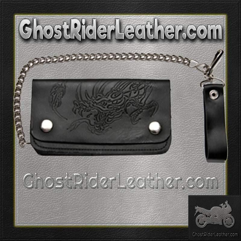 Black Leather Chain Wallet with Embossed Dragon / Bifold / SKU GRL-WALLET8-DL