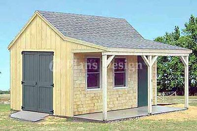 12 X 16 Cottage Cabin Shed With Porch Plans 81216 753182758428 Ebay Shed With Porch Shed Plans 12x16 Porch Plans
