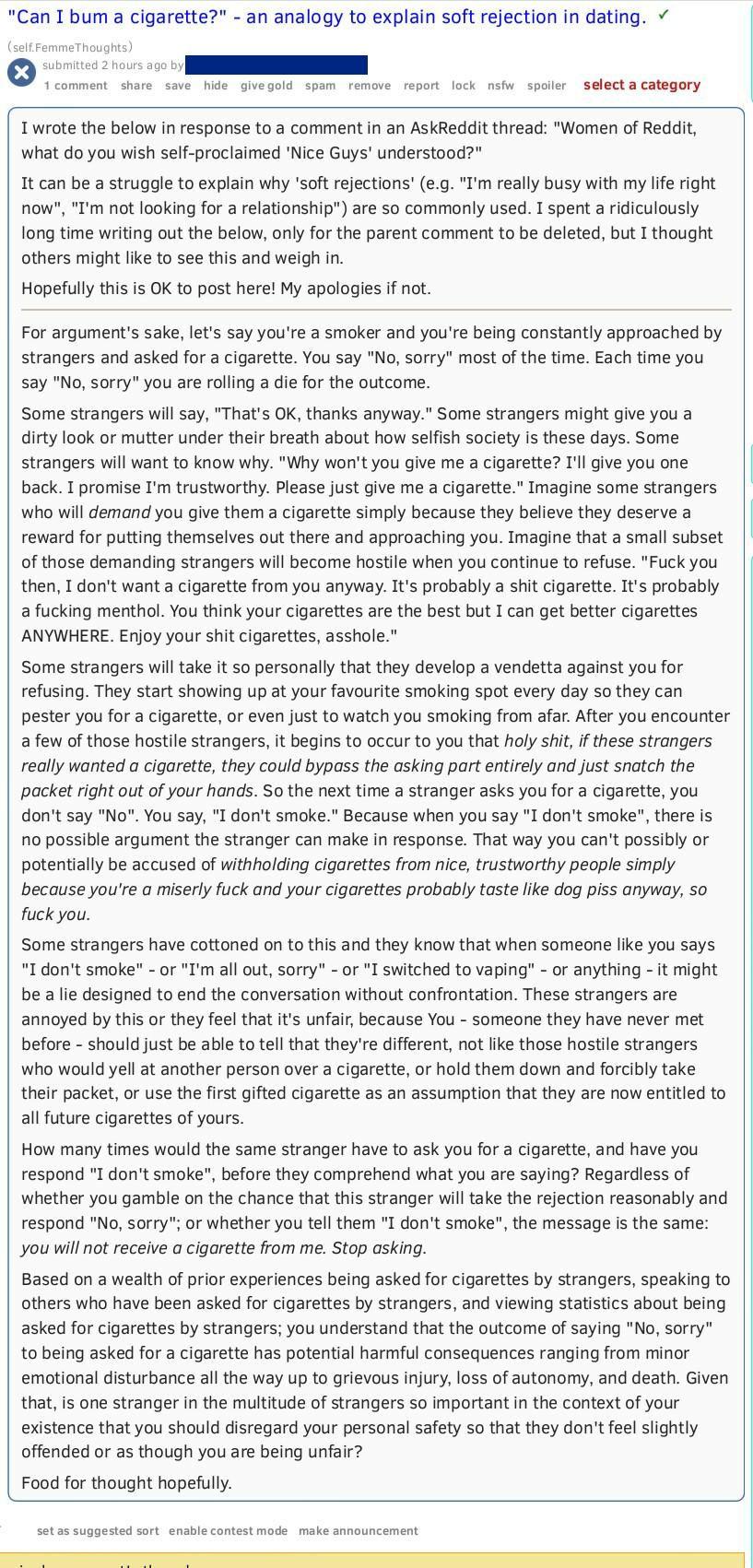 "[meta] Something ""nice guys"" should understand: an analogy"
