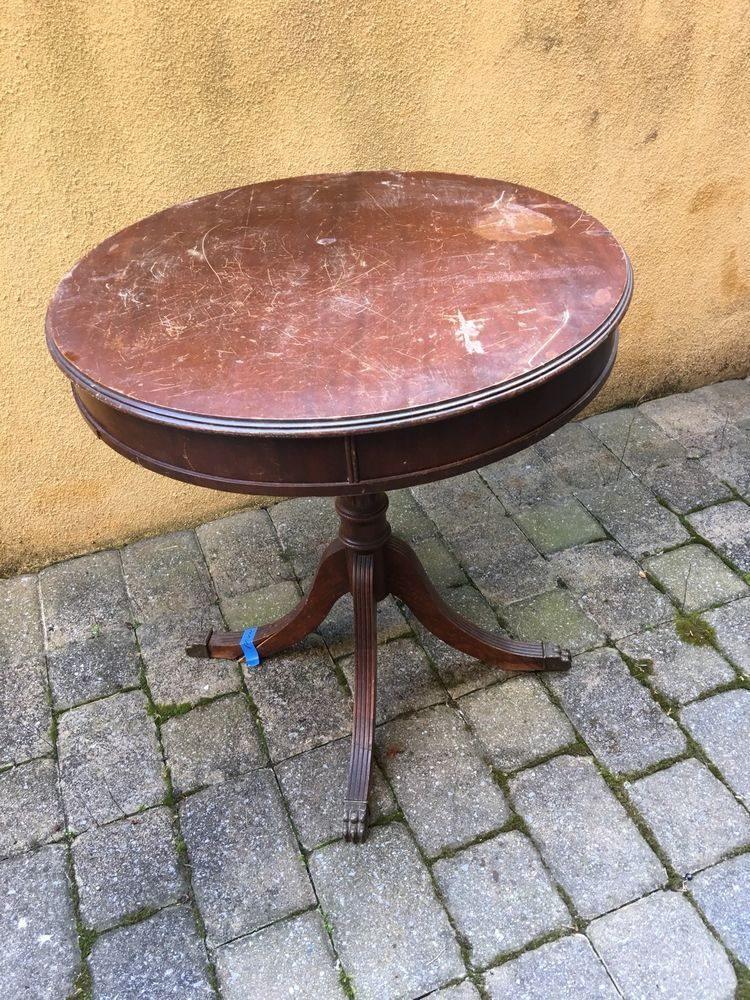 details about vintage round mahogany drum table brass claw feet leg rh pinterest com