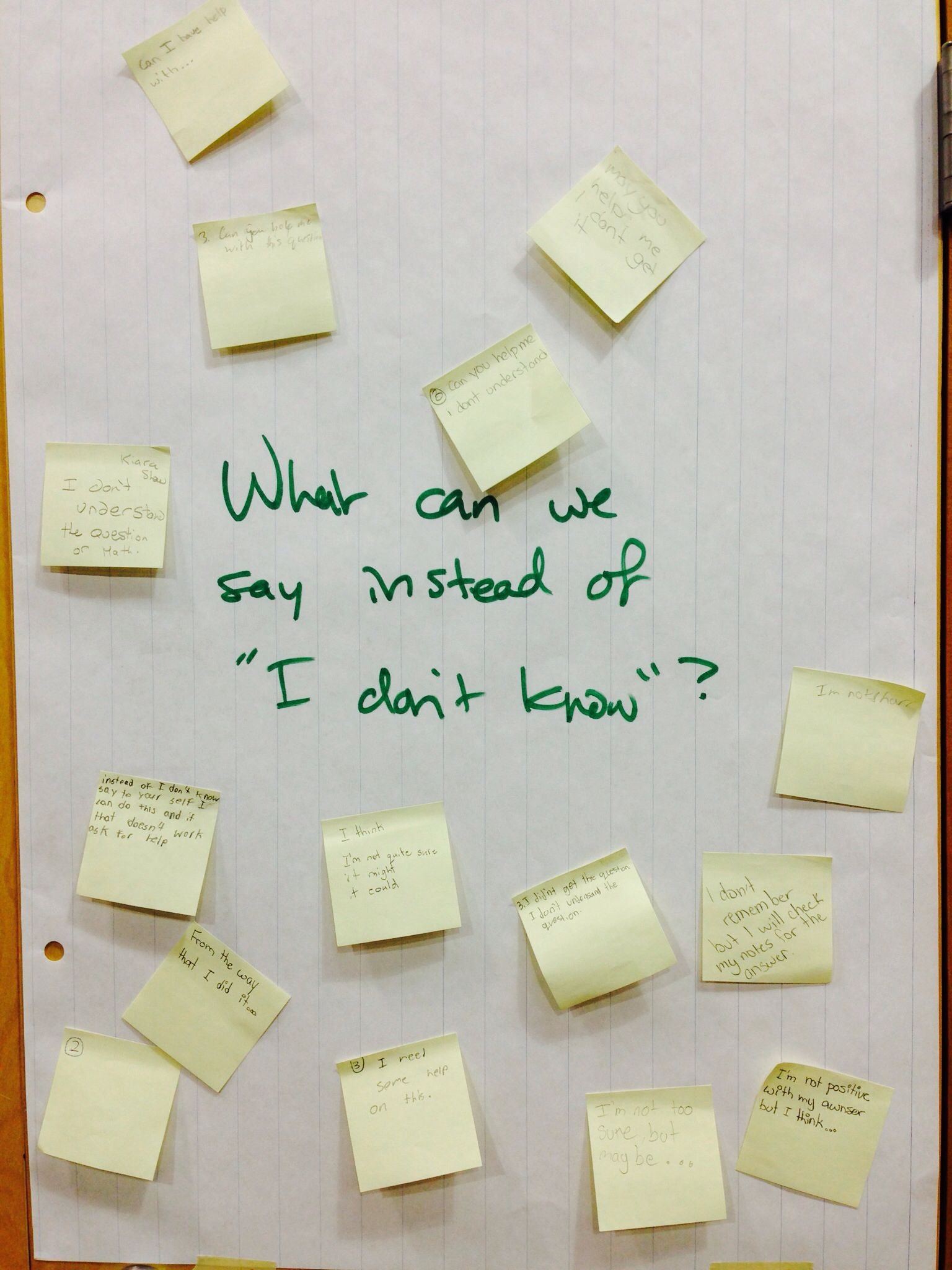 """What can we say instead of """"I don't know"""". Class discussion."""
