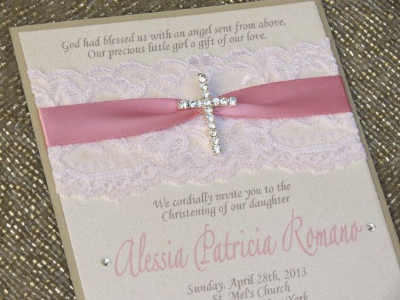 Marvelous CHRISTINA: Pink Lace Baptism Invitation, Christening Invitation With  Crystal Cross, Religious Invitation