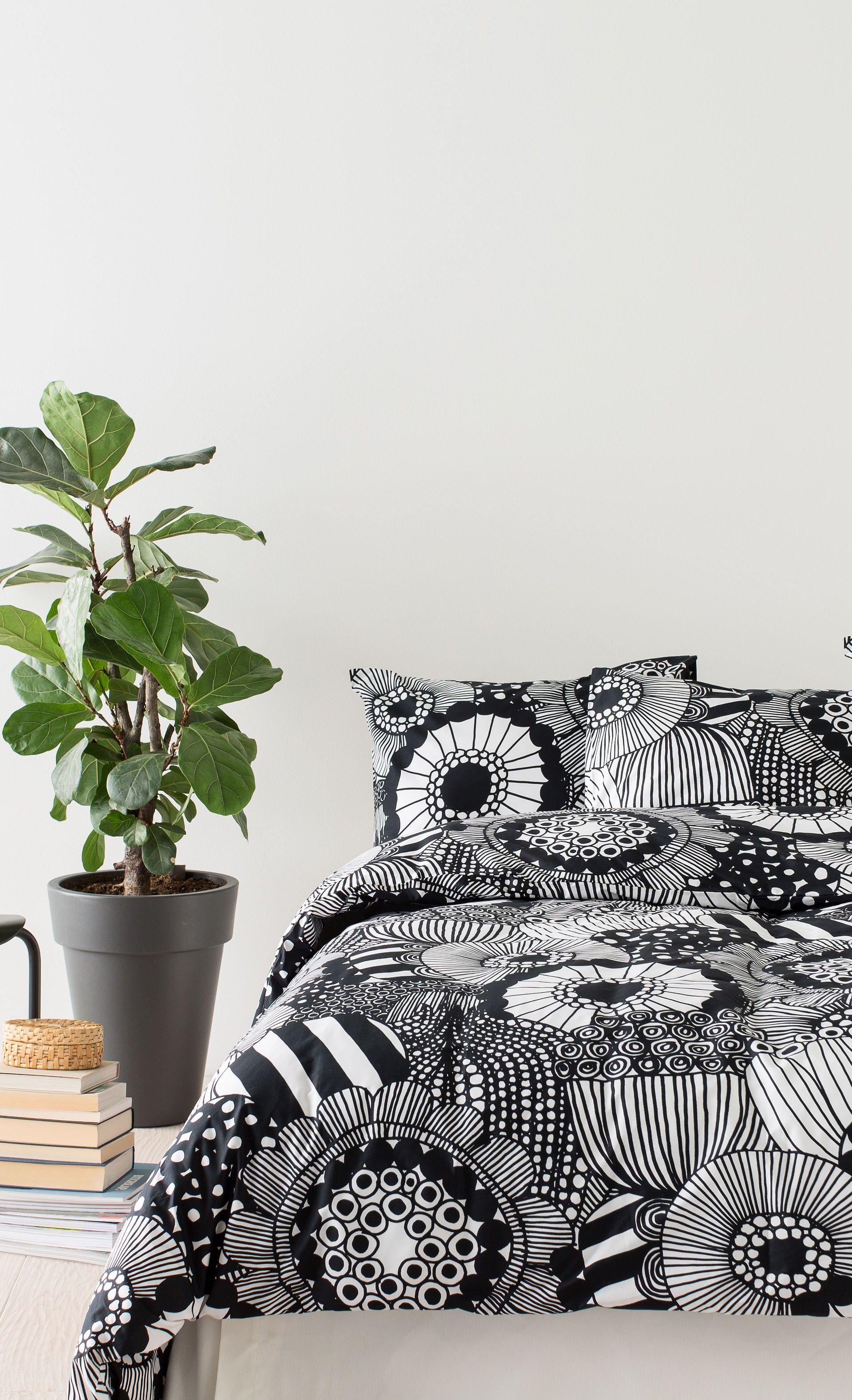 house pin flowers draw bedding white bed duvet siirtolapuutarha marimekko black cover