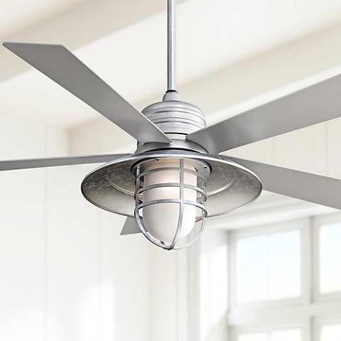 a handsome industrial farmhouse cage style galvanized ceiling fan rh pinterest com