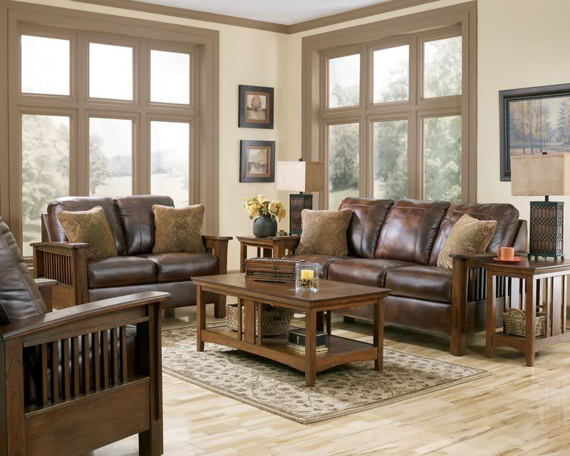 Gabriel Mission Rustic Brown Faux Leather Sofa Couch Living Room Set Furniture Living