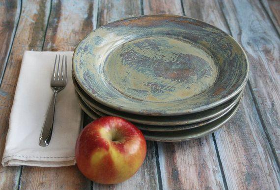Ceramic Dinner Plates Rustic Green Plates Handmade by sheilasart & Ceramic Dinner Plates Rustic Green Plates Handmade Set of Four ...