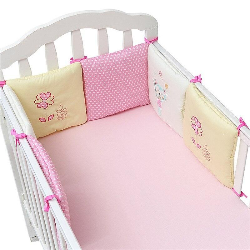 6Pc Popular Crib Bumper Protective Baby Nursery Bedding Comfy Infant Cot Pad