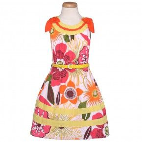 Multicolor Sleeveless Girls Casual Dress 4-10
