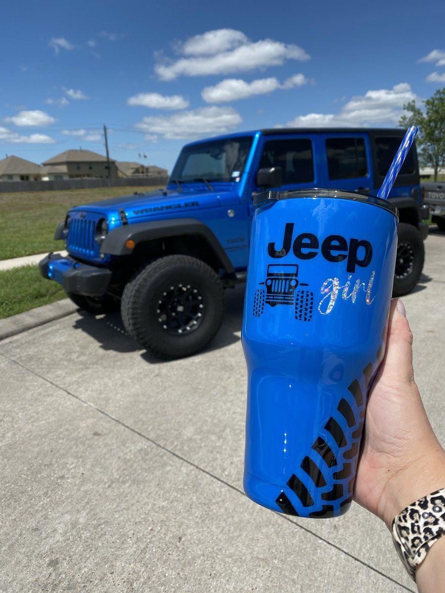 Custom Jeep Tumbler In 2020 Custom Jeep Blue Jeep Wrangler Jeep
