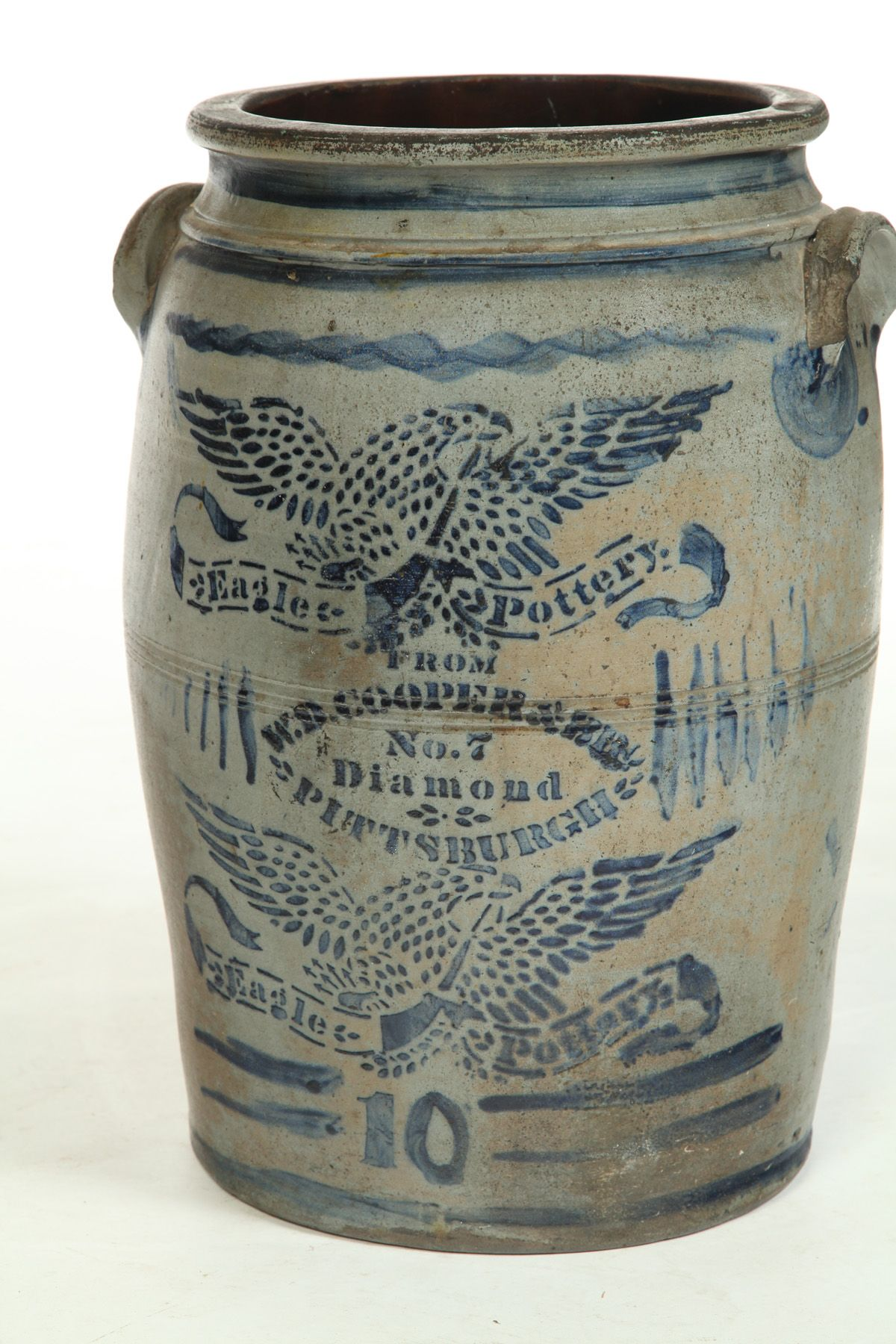 Pennsylvania Decorated Stoneware Crock Eagle Pottery