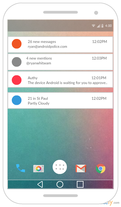The following Android mockup template is the Notification