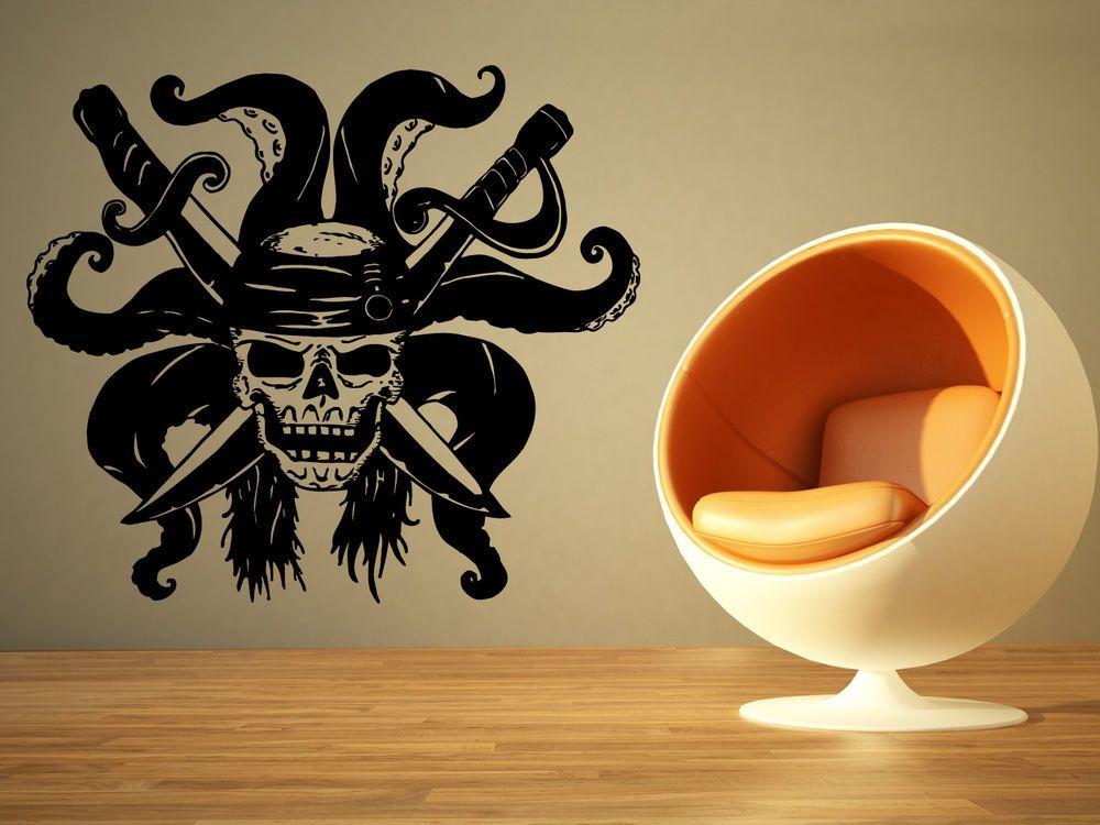 Wall Room Decor Art Vinyl Sticker Mural Decal Pirate Flag Skull ...