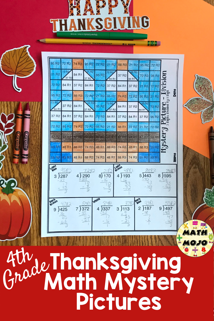 4th Grade Thanksgiving Math Mystery Pictures: Math Color By Number ...