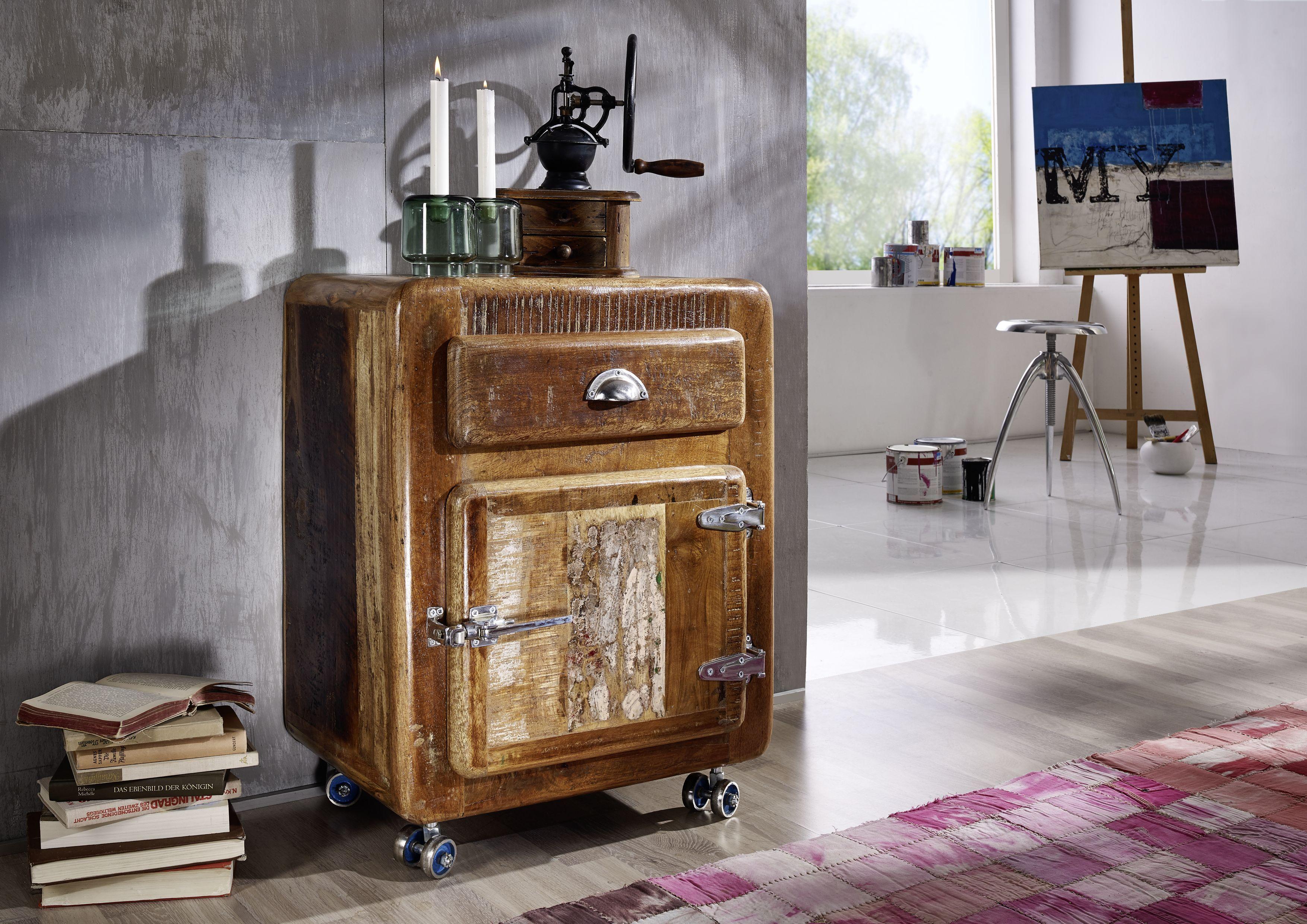 Rollcontainer Der Freezy Serie Aus Indischem Altholz Im Industrial