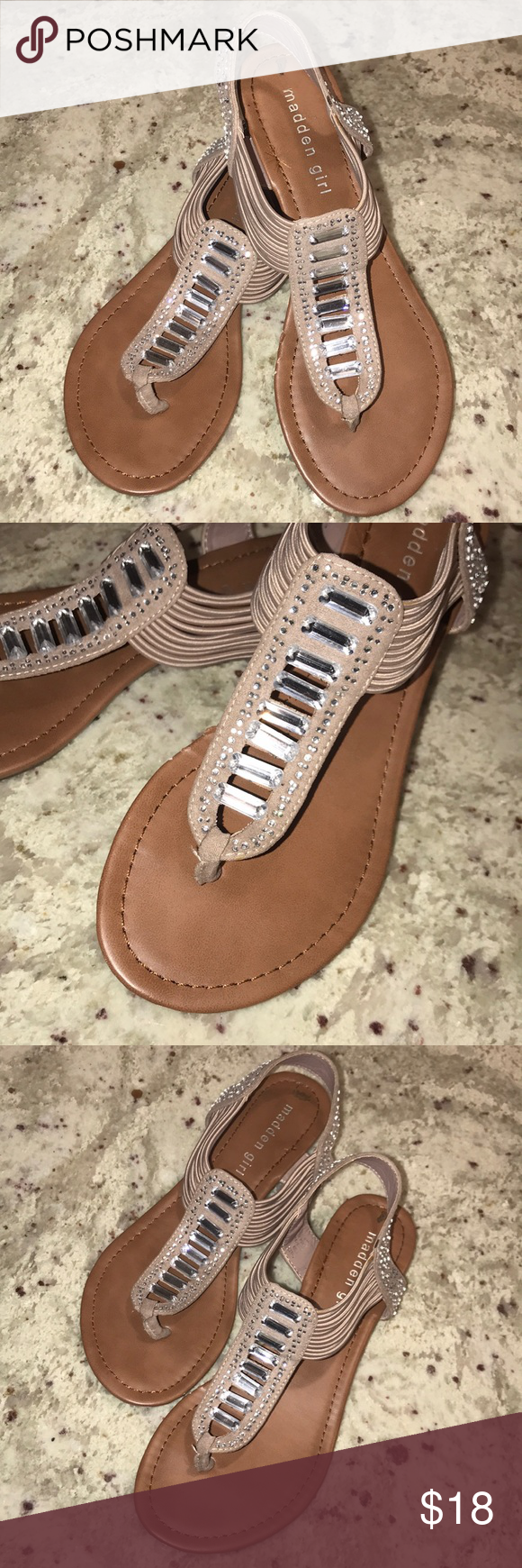 """6e9373f48efcc Madden Girl✨Bling Thong Sandal """"Tilliee"""" Sandal. Size 6.5. Bling and  rhinestone accents in very good condition. Madden Girl Shoes Sandals"""