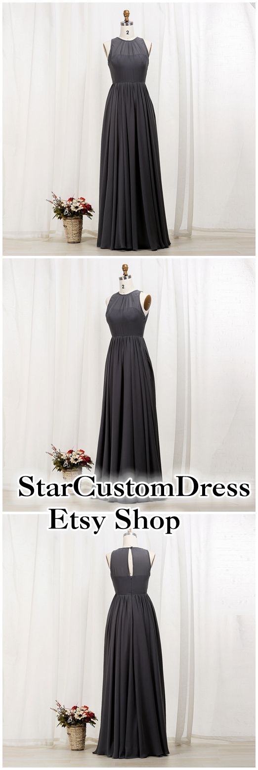 Dark grey chiffon bridesmaid dress with unique key hole on the dark grey chiffon bridesmaid dress with unique key hole on the back ombrellifo Images