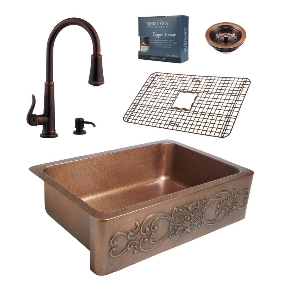 pfister all in one ganku copper farmhouse 33 in kitchen sink design rh pinterest com