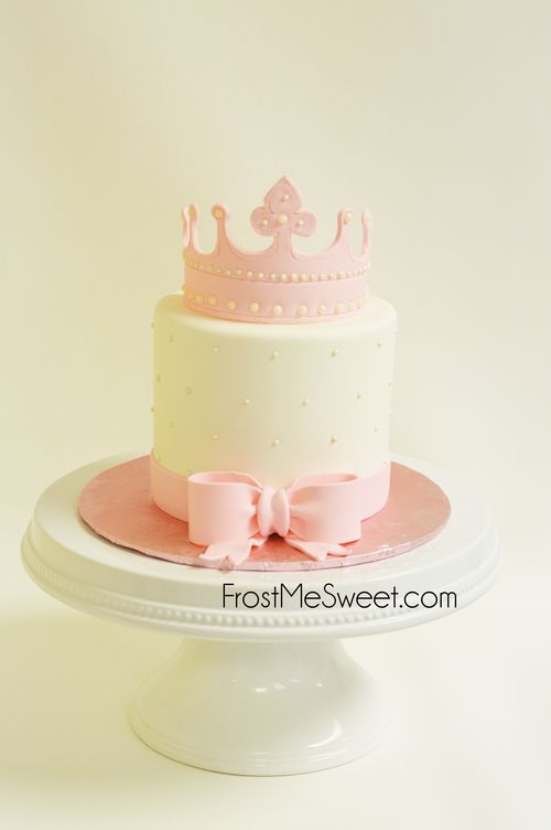 Pink Princess Crown Bow Girl Girls Birthday Cake By Frost Me Sweet