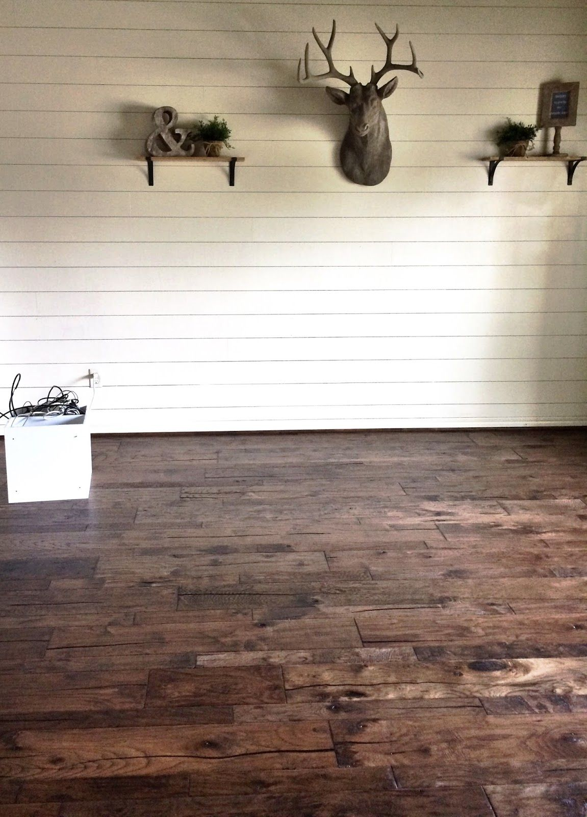 home office makeover with white shiplap walls and dark hickory wood ...