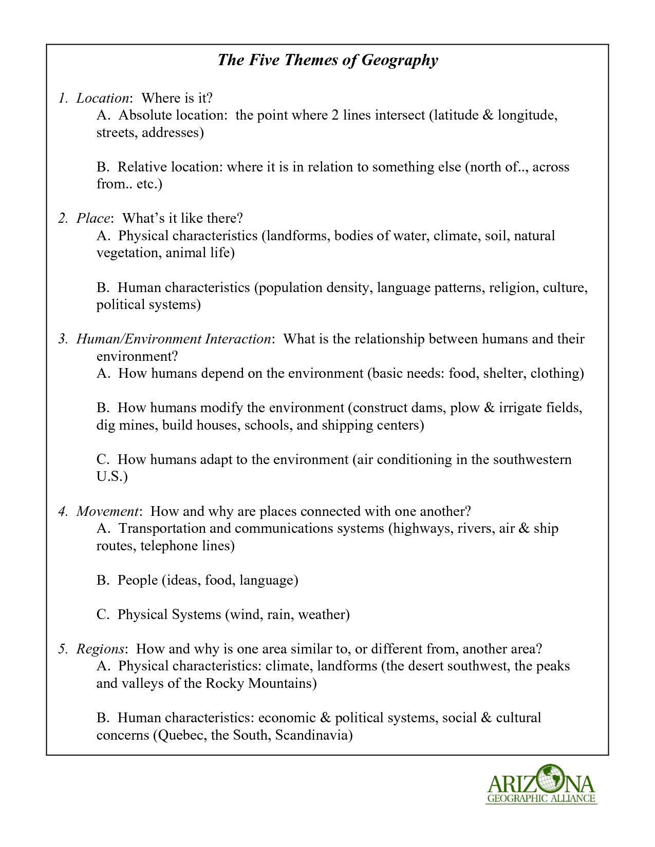 Worksheets Physical Geography Worksheets 5 themes of geography printable 18 best images five worksheets
