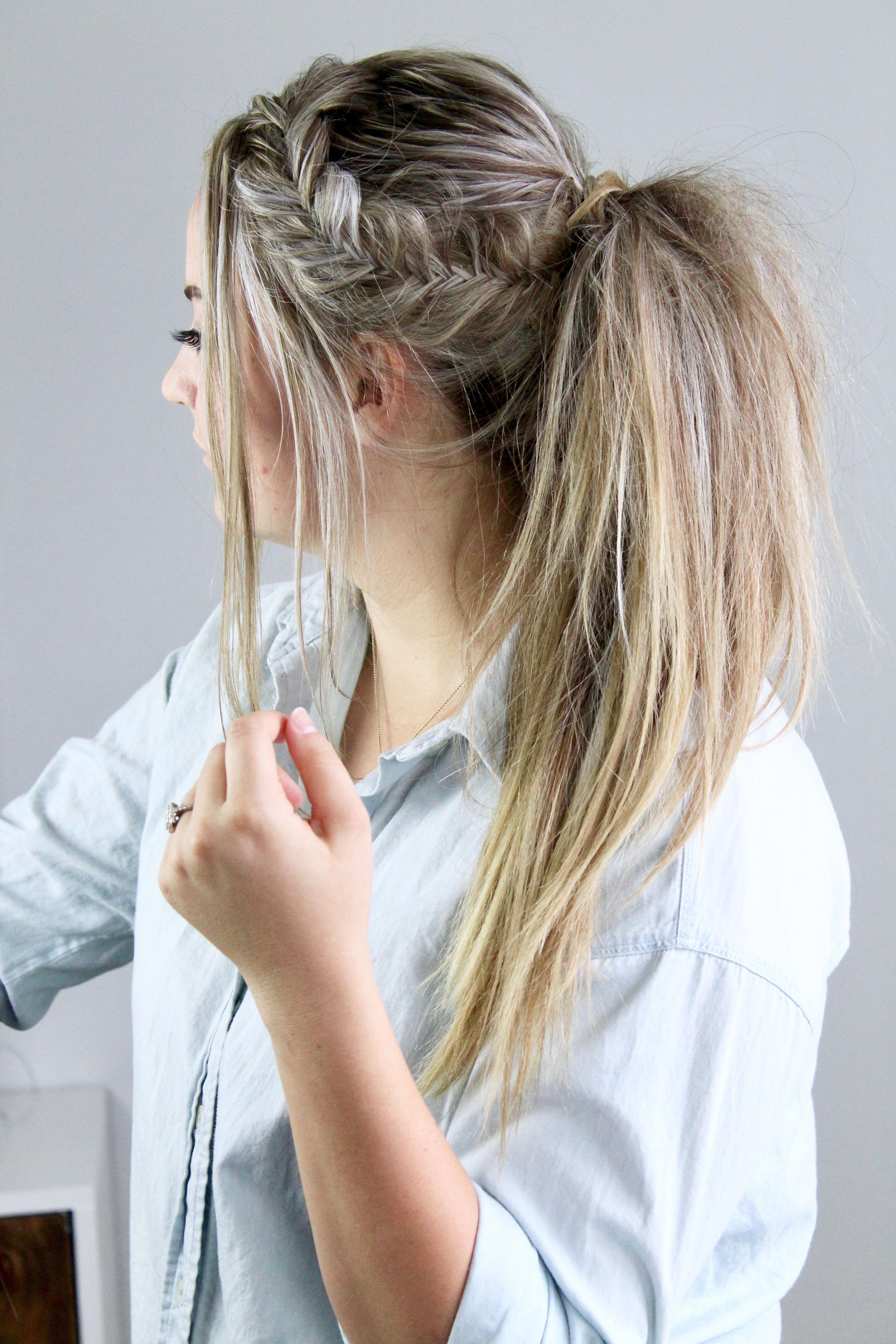 Fishtail ponytail side swept voluminous fishtail braid ponytail