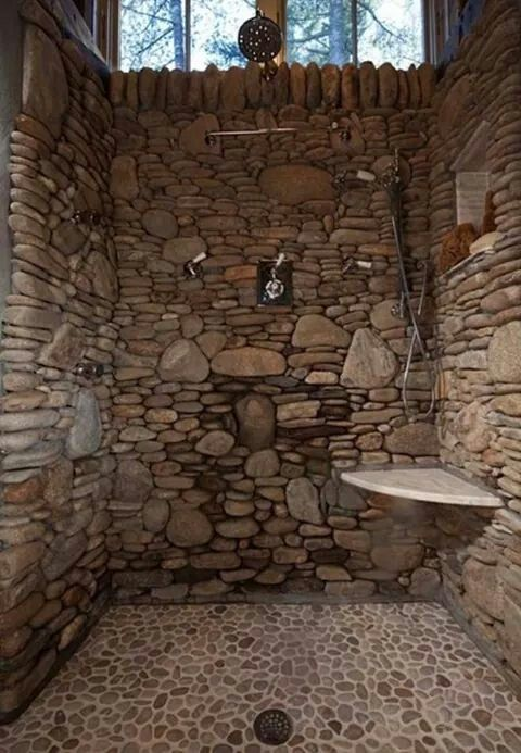 Stone Shower Rustic Bathroom Designs Rustic Bathrooms - Badezimmer Grotte