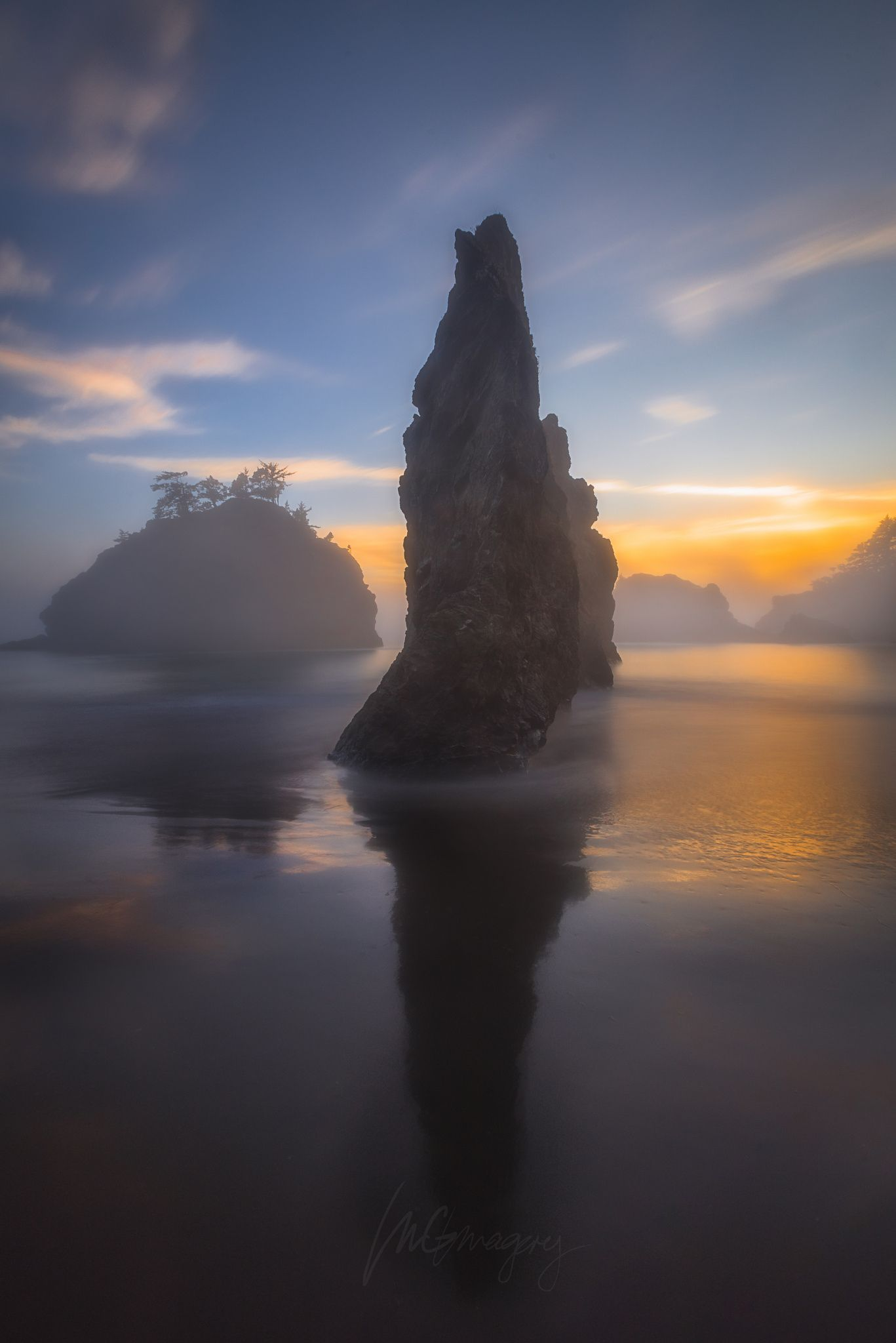 Map Of Oregon Coast%0A   Serpentine   foggy sea stack sunset  Oregon coast  by IMG Imagery
