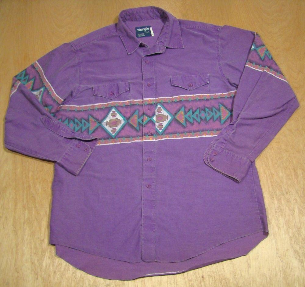 Vintage 1980's-90's Wrangler Western Men's Shirt-Southwest Indian-Sante Fe-Denim #Wrangler #ButtonFront