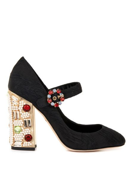 bf6b20a504f2 Dolce   Gabbana Vally Embellishedheel Mary Jane Shoes in Black - Lyst
