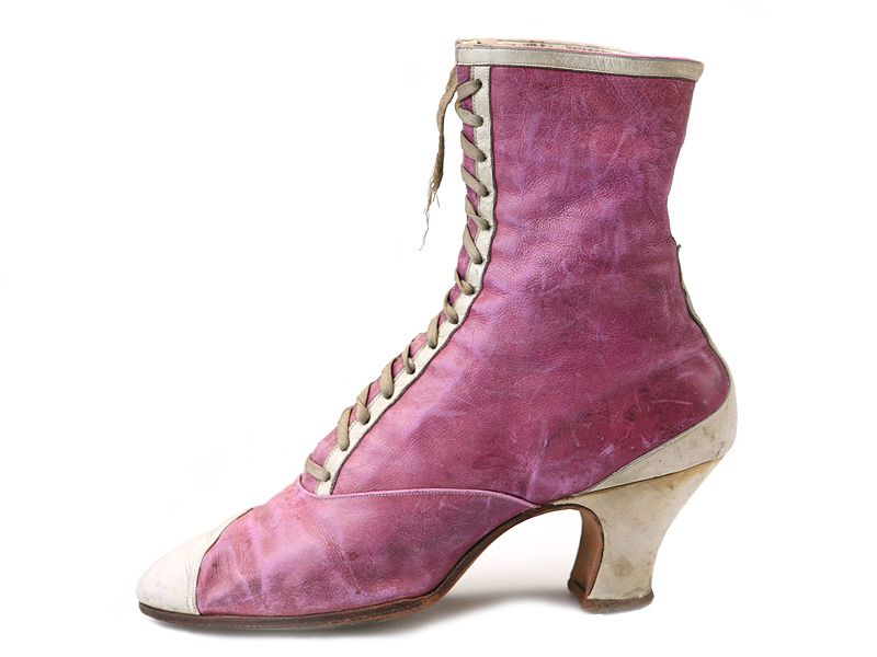 Late 1800s Cammeyer.. Lilac leather white rim front lacing boots.