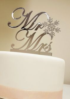 Winter Themed Wedding Snowflake Mr & Mrs Cake by SpectacularEvents