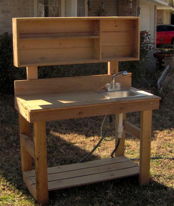 brand new 6 foot ultimate cedar potting bench with sink free rh pinterest com