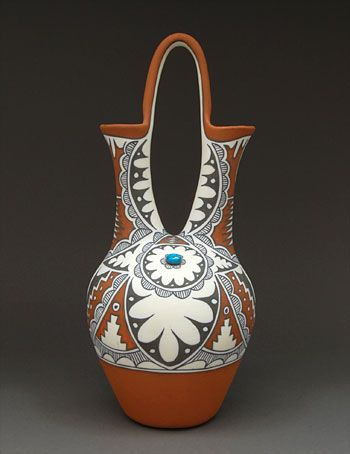 Pottery Wedding Vase By Mary Small Jemez Pueblo Springs New Mexico