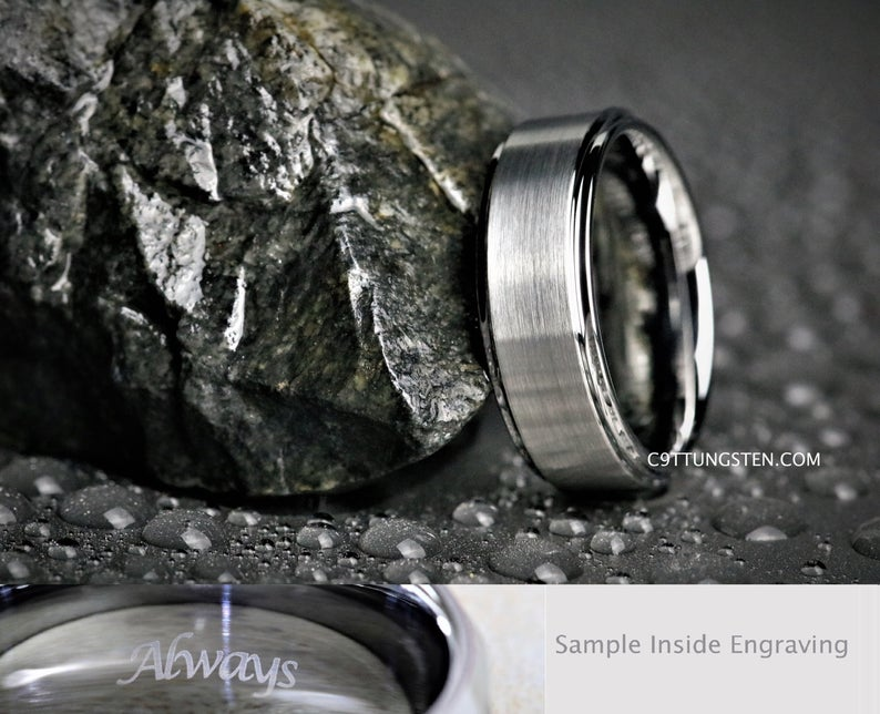 8MM Mens Brushed Silver Tungsten With High Polish Edges