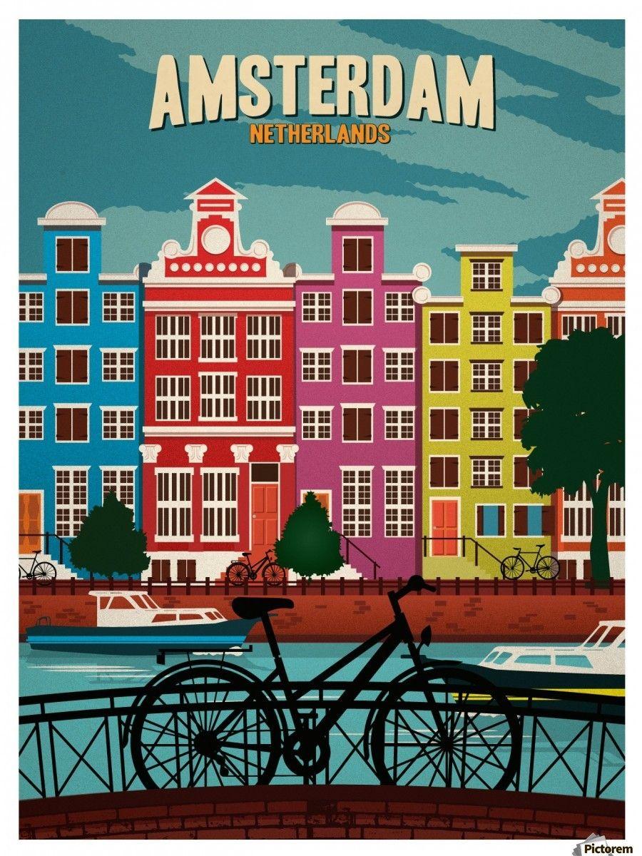 927afeb4a09 Amsterdam Netherlands Art Print travel poster - VINTAGE POSTER ...