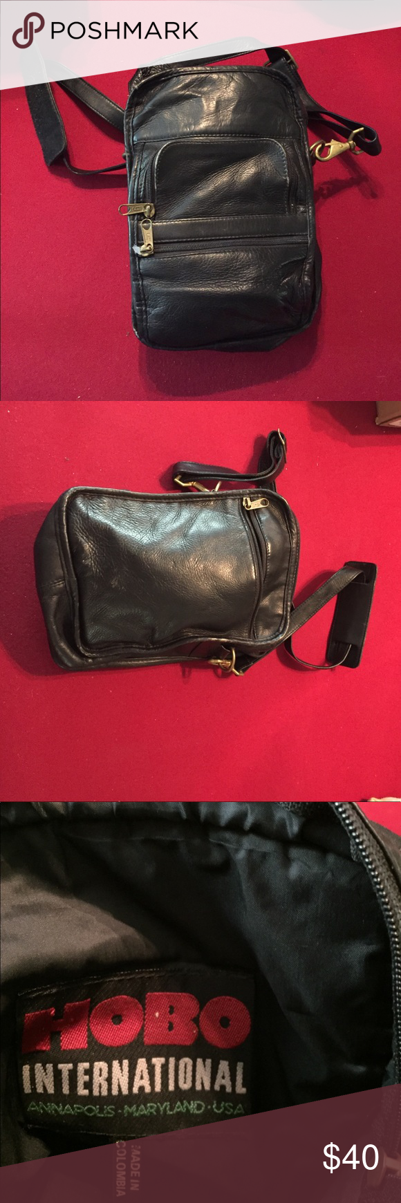 Hobo crossbody Purse Black calfskin messenger style bag