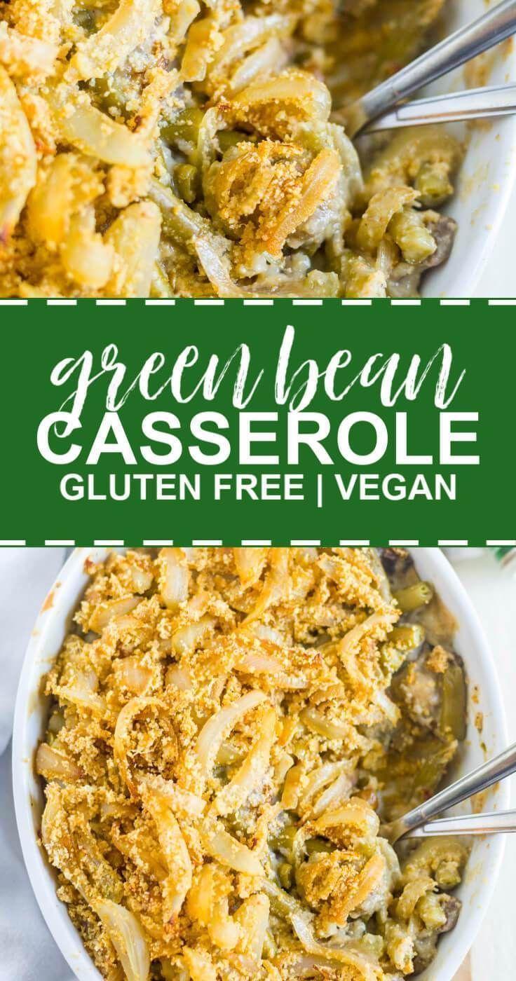 Glutenfreie und Vegan Grüne Bohnen-Auflauf #thanksgivingrecipes Diese Glutenfrei & Vegan Green Bean Casserole ist ein einfach Urlaub Rezept. Es ist Low-Carb und milchfrei, aber es ist voller Geschmack! #abendessenrezept #rezepteinfach