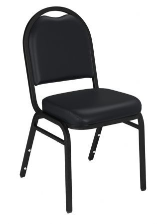 Panther Black & Black Santex Frame Dome Top Vinyl Upholstered Padded Stacking Chair