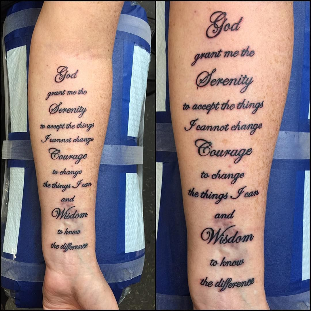 serenity prayer tattoo forearm