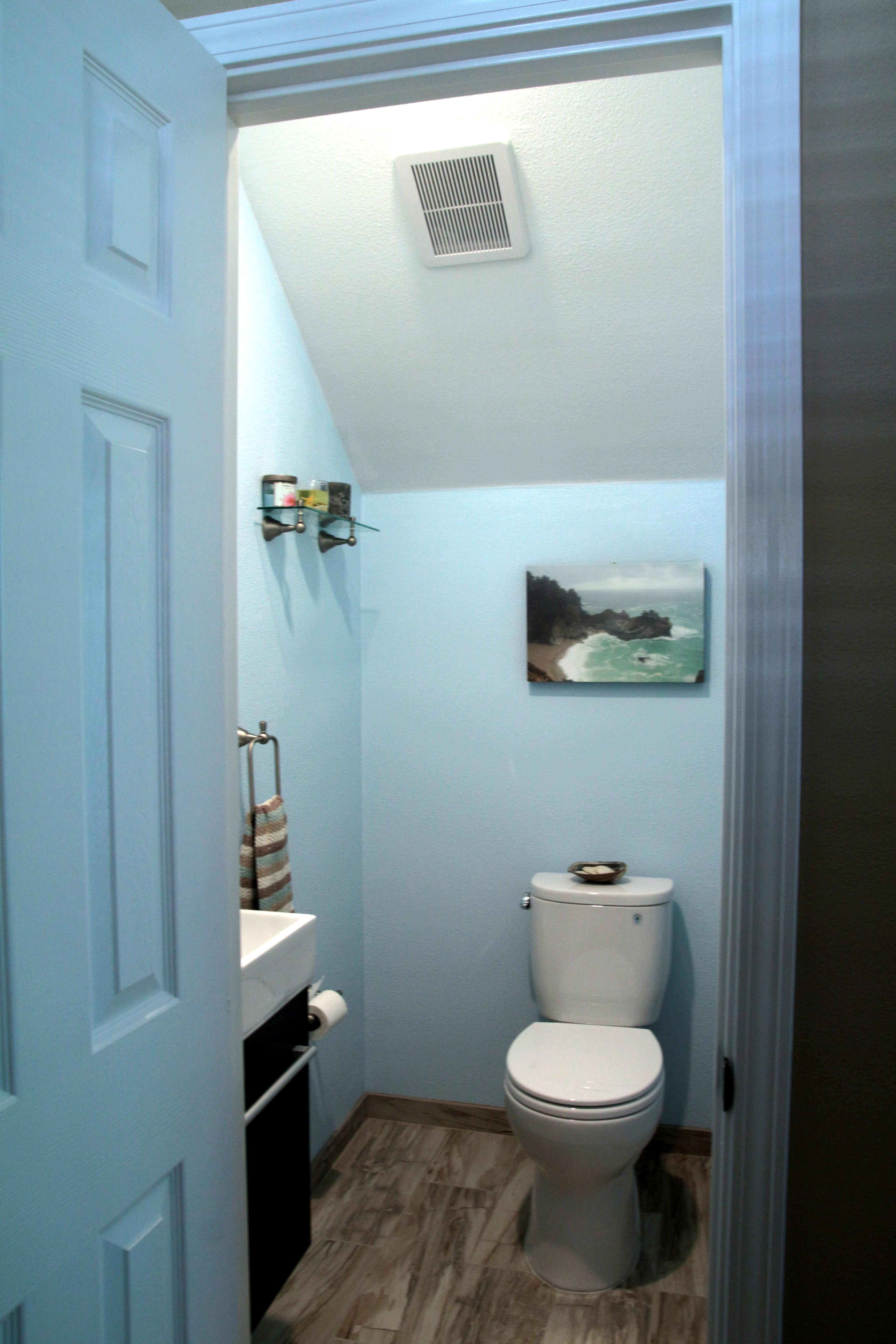 bathroom small space design%0A Small bath under stairs  Floating sink vanity  bought from Best Tile  Santa  Clara
