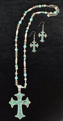 Blazin Roxx Silver & Turquoise Stone Cross Necklace Set 29092