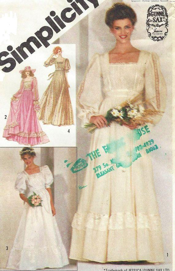 80s Gunne Sax Simplicity Sewing Pattern 5362 Womens Boho Bridal ...