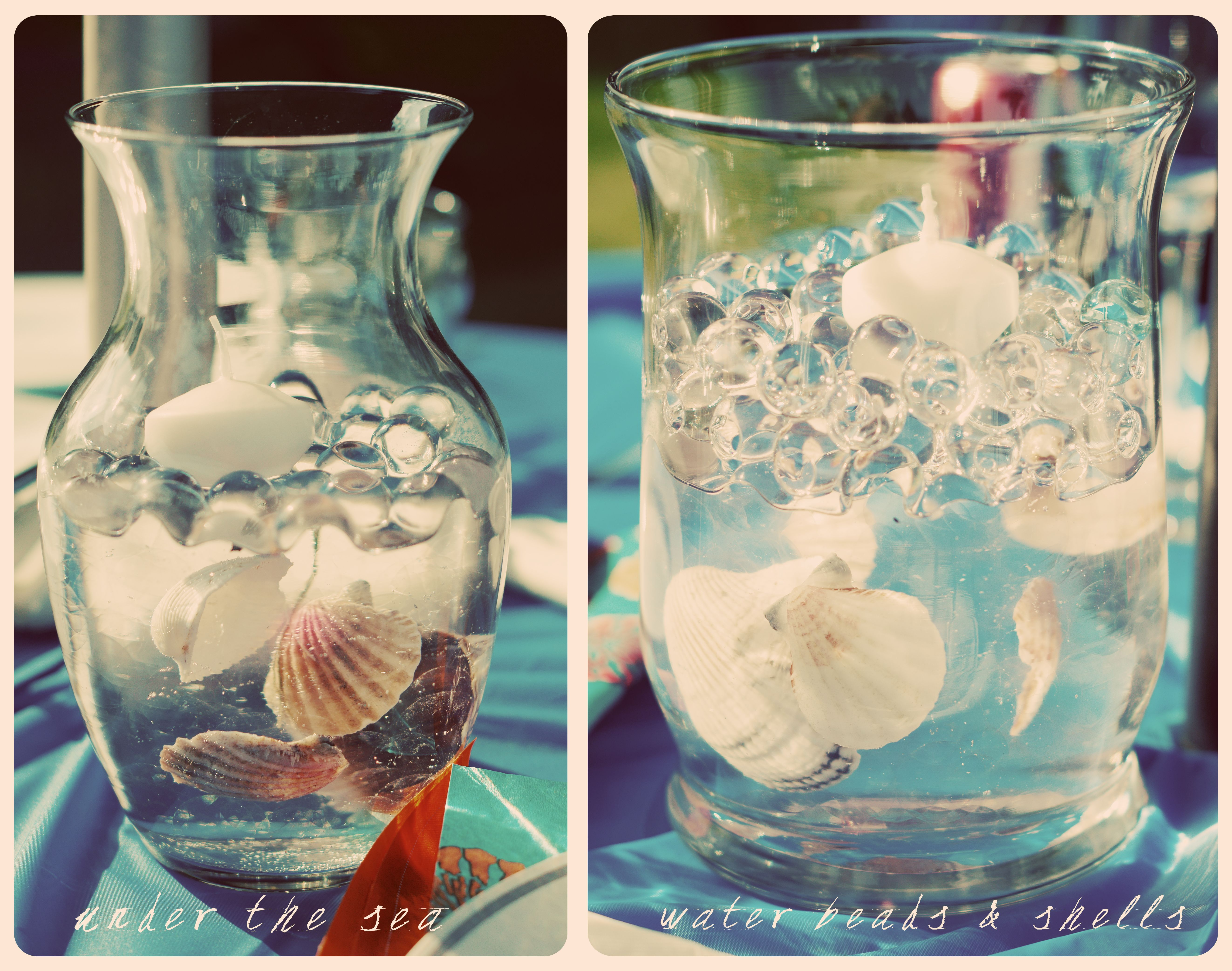 Whimsical sea shell centerpiece nautical themed wedding