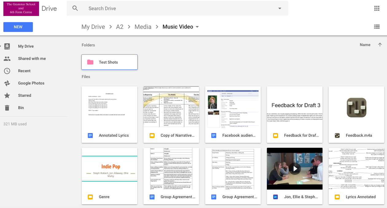 PLANNING Google Drive We used this to collaborate on