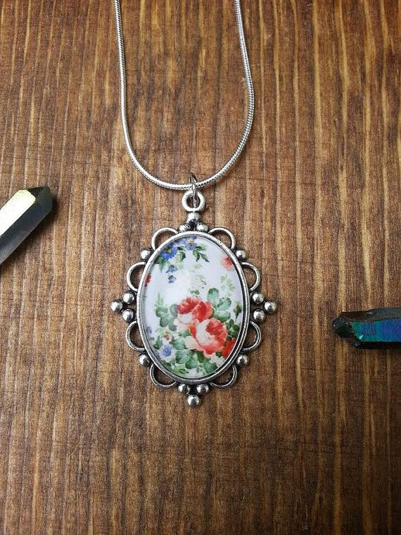 Sterling Silver Statement Necklace Floral Vintage Style Flower Gemstone Pendant Handmade Fashion Jewelry