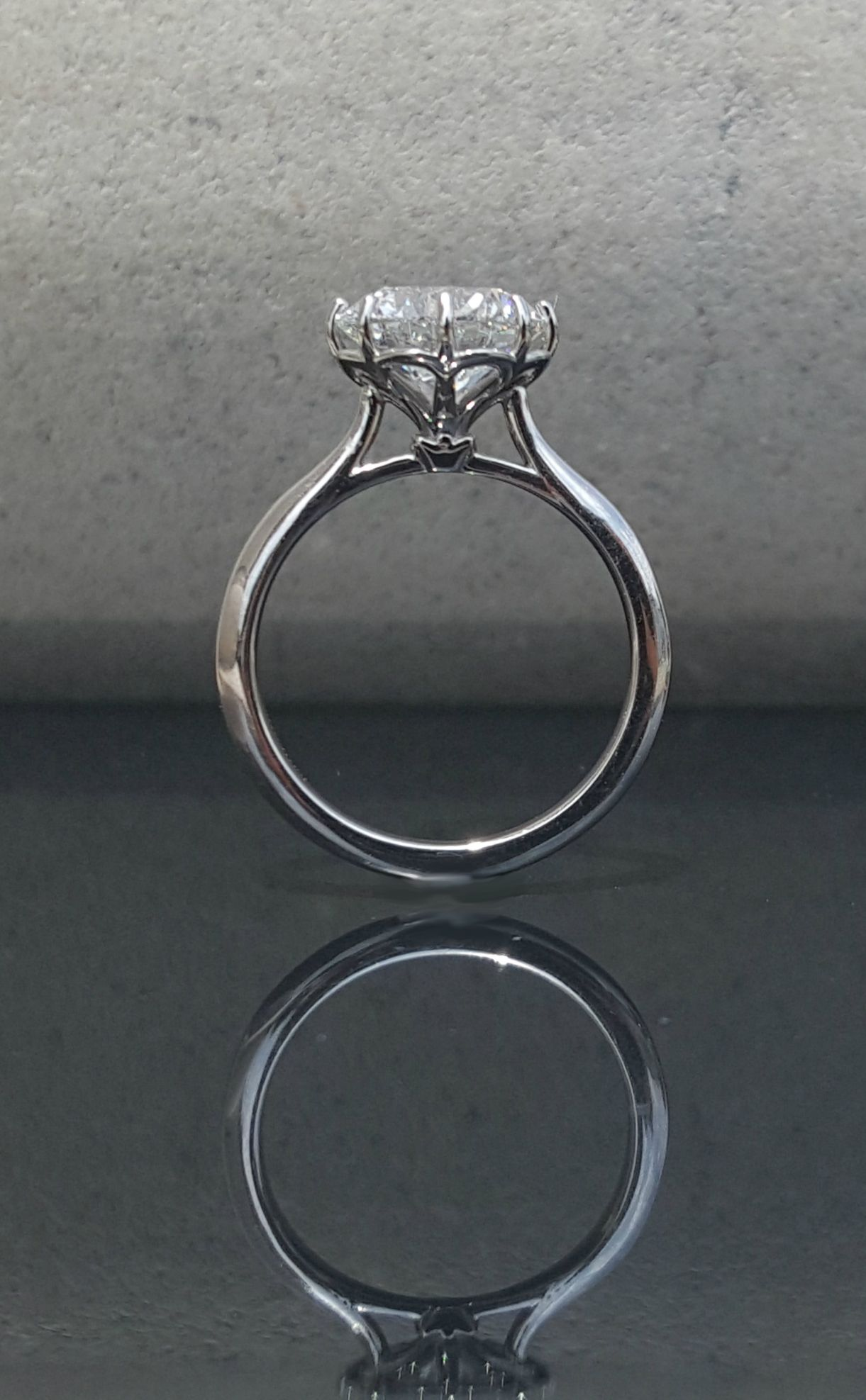 Flower Petal Solitaire 8 Prong Solitaire Round Solitaire White