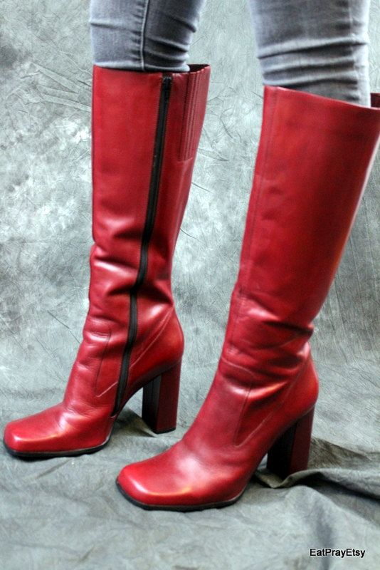 Tall Red leather Womens Boots Brazil Very High Heel Size 10 B