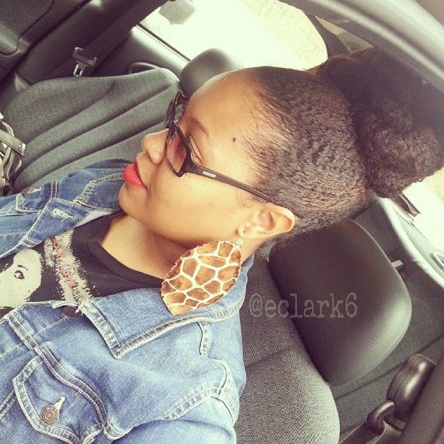 Almost messed up my #bun getting in the car! O_o. ..But hey!!!!!! TGIF!!!!!!!!!! :-) (Earrings by #EyeCatchers  @wheatgrass_scorp)