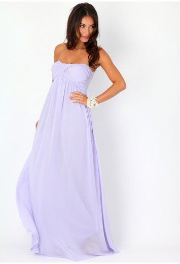 Missguided - Harriet Gathered Chiffon Look Maxi Dress In Lilac