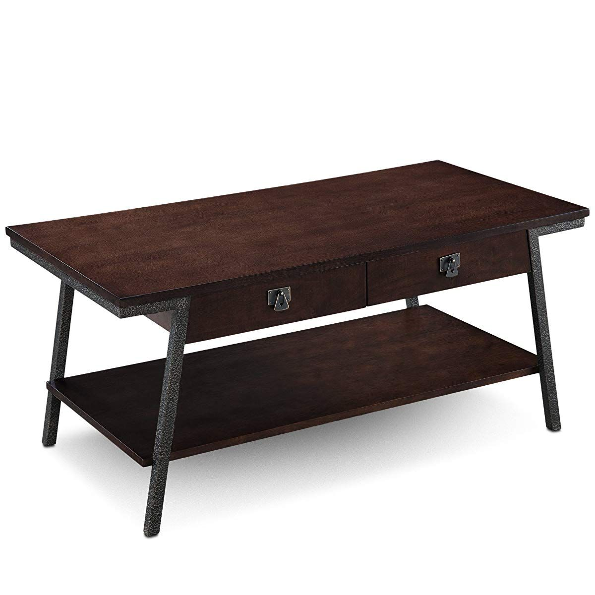 industrial two drawer coffee table walnut coffee table rh pinterest es